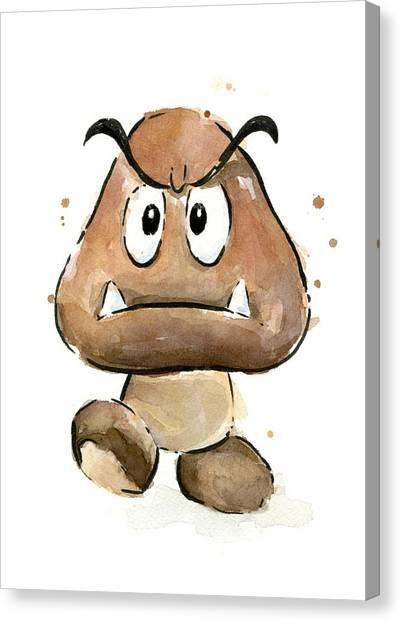 Gaming Consoles Canvas Print - Goomba Watercolor by Olga Shvartsur