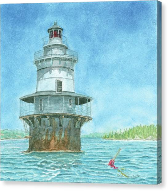 Canvas Print featuring the painting Goose Rocks Light At High Tide by Dominic White