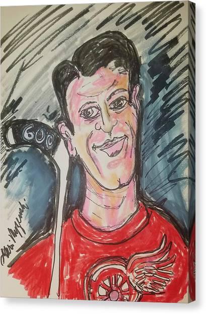 Gordie Howe Canvas Print - Gordie Howe 600 Goals by Geraldine Myszenski