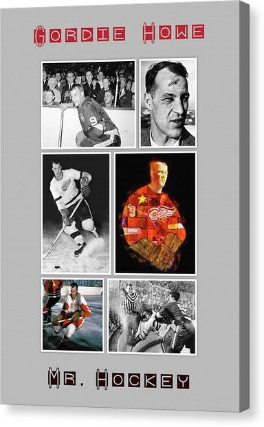 Gordie Howe Canvas Print - Gordie Howe by John Farr