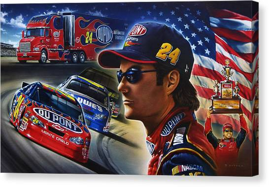 Nascar Canvas Print - Gordon by Dan Hatala