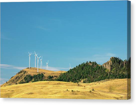 Wind Farms Canvas Print - Gordons Butte Turbines by Todd Klassy