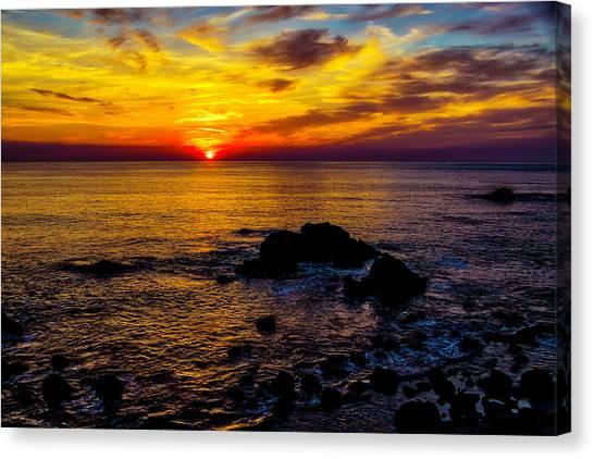 Sun Set Canvas Print - Gorgeous Coastal Sunset by Garry Gay
