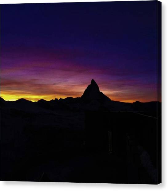 Matterhorn Canvas Print - #gornergrat  #sunset  #switzerland by Natus Valais