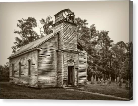 Cemetery Canvas Print - Gospel Center Church Iv by Tom Mc Nemar