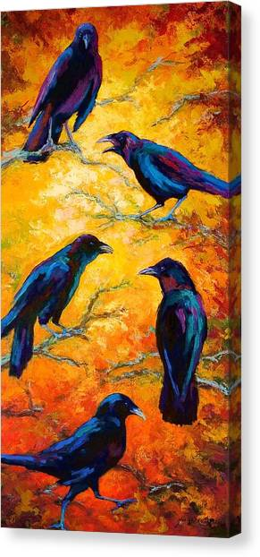 Ravens Canvas Print - Gossip Column II by Marion Rose
