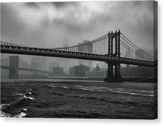 Manhattan Bridge In A Storm Canvas Print