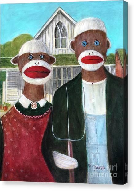 Gothic American Sock Monkeys Canvas Print