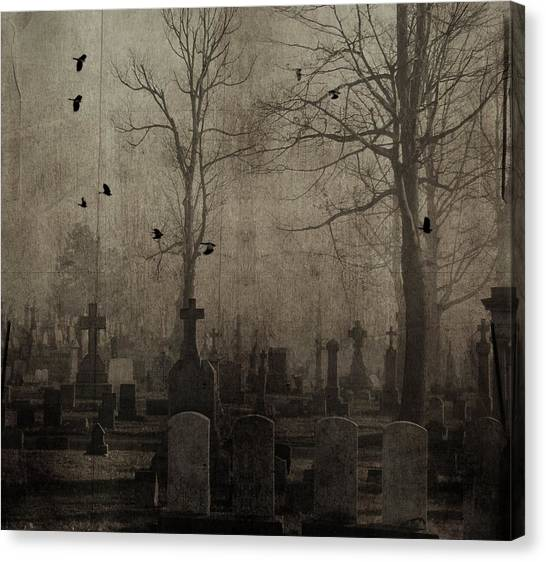 Ravens In Graveyard Canvas Print - Gothic Crows Flying Through The Graveyard by Gothicrow Images