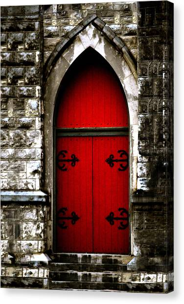 Gothic Red Door Memphis Church Canvas Print