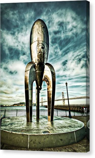 Gothic Rocketship Ray Gun Canvas Print
