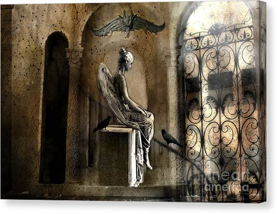 Angel Art By Kathy Fornal Canvas Print - Gothic Surreal Angel With Gargoyles And Ravens  by Kathy Fornal