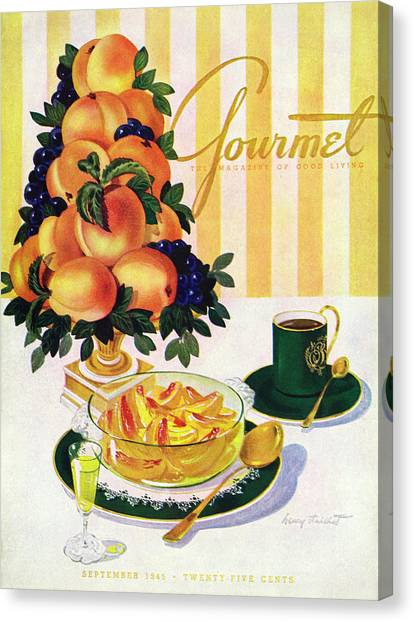 Gourmet Cover Featuring A Centerpiece Of Peaches Canvas Print