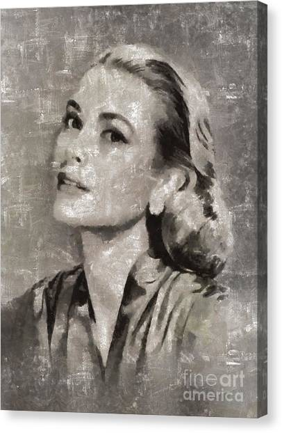 Stardom Canvas Print - Grace Kelly By Mary Bassett by Mary Bassett