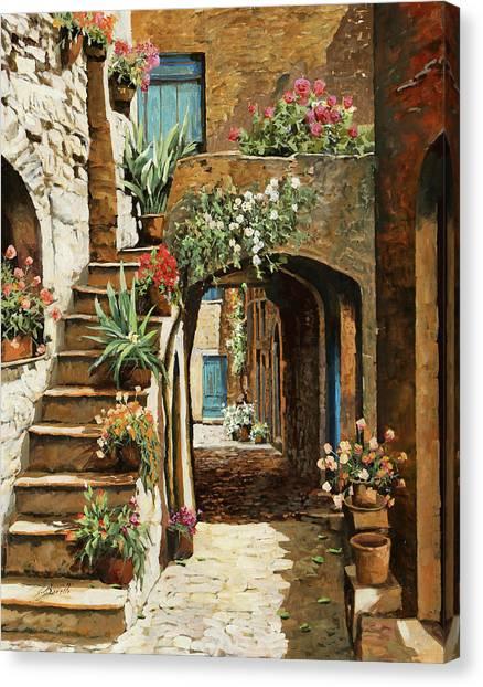Italian Canvas Print - Gradini In Cortile by Guido Borelli