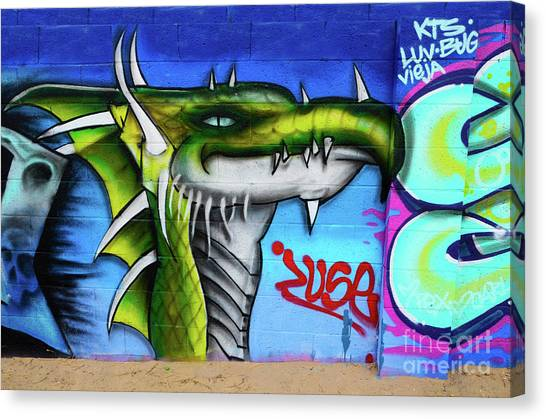 Graffiti Walls Canvas Print - Graffiti Art Albuquerque New Mexico 6 by Bob Christopher