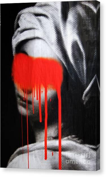Graffiti Canvas Print - Graffiti On A Poster Krakow Poland by Wayne Higgs