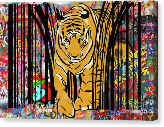 Graffiti Canvas Print - Graffiti Tiger by Sassan Filsoof