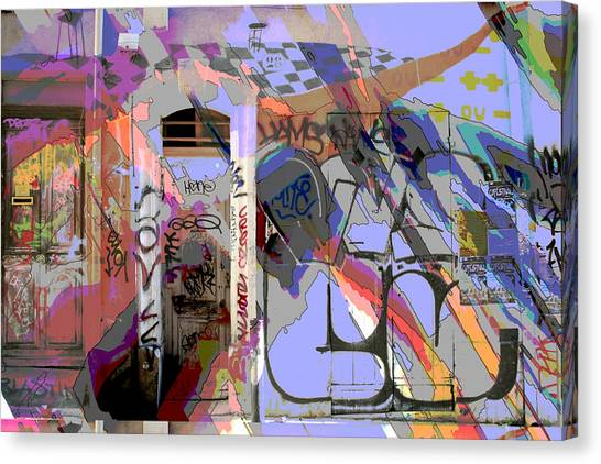 Graffitis Front Door Canvas Print by Martine Affre Eisenlohr