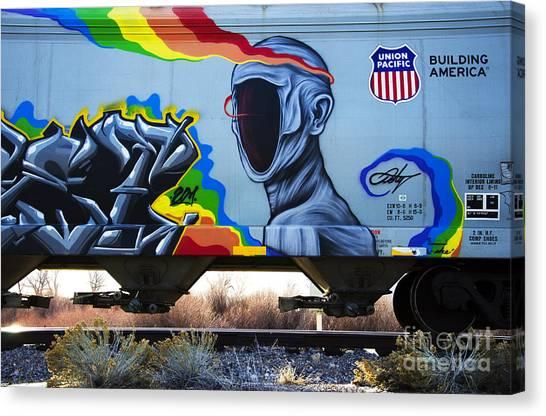 Graffiti Canvas Print - Grafitti Art Riding The Rails 2 by Bob Christopher