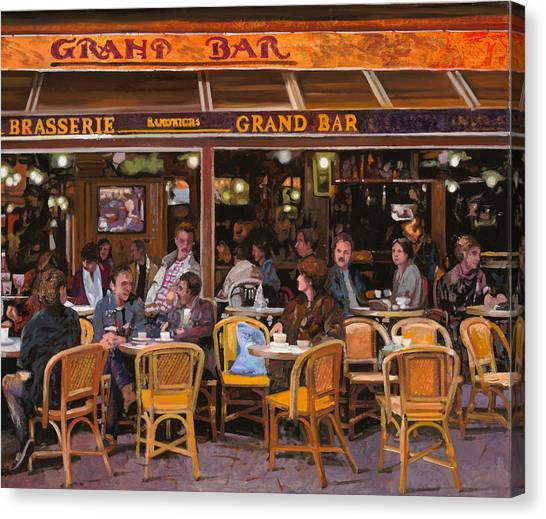 Street Scenes Canvas Print - Grand Bar by Guido Borelli