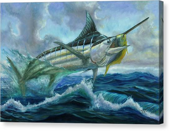Grand Blue Marlin Jumping Eating Mahi Mahi Canvas Print