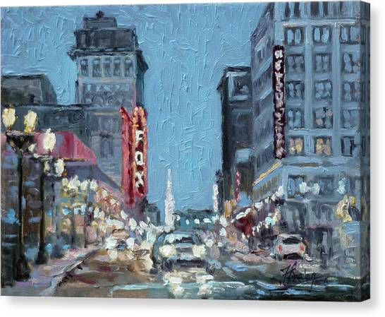 Canvas Print - Grand Boulevard At Night, St.louis by Irek Szelag