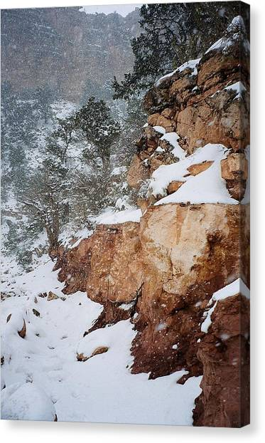 Grand Canyon In Snow Canvas Print by Ruth Sharton