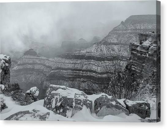 Grand Canyon In The Fog Canvas Print