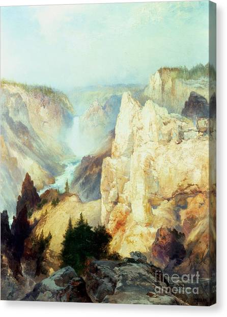 Rocks Canvas Print - Grand Canyon Of The Yellowstone Park by Thomas Moran