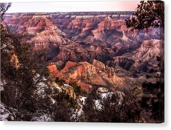 Grand Canyon Winter Sunrise Landscape At Yaki Point Canvas Print