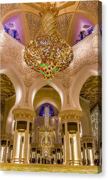 Canvas Print featuring the photograph Grand Chandelier Of Sheikh Zayed Mosque - Vertical  by Yogendra Joshi