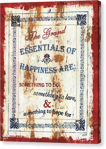 Spiritual Canvas Print - Grand Essentials Of Happiness by Debbie DeWitt