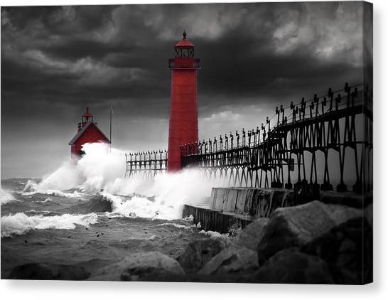 Grand Haven Lighthouse In A Rain Storm Canvas Print
