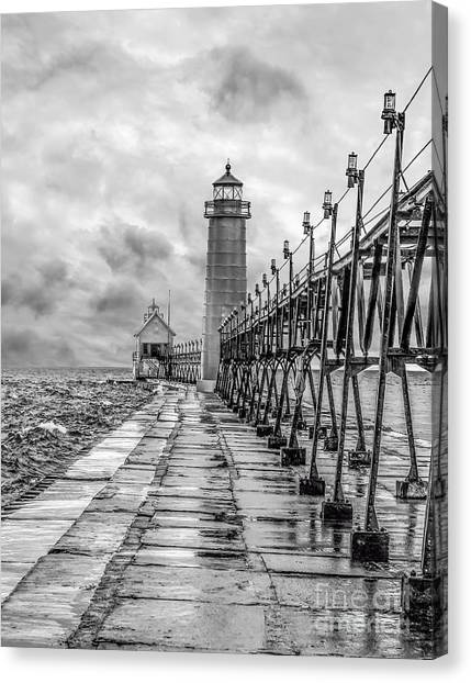 Grand Haven Lighthouse - Monochome Canvas Print