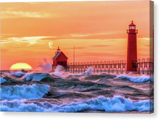 Canvas Print featuring the painting Grand Haven Lighthouses by Christopher Arndt