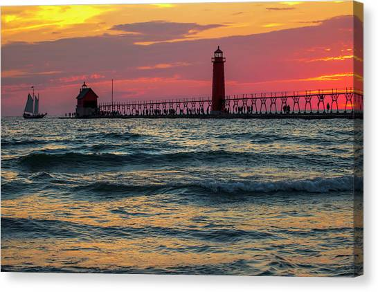 Grand Haven Pier Sail Canvas Print