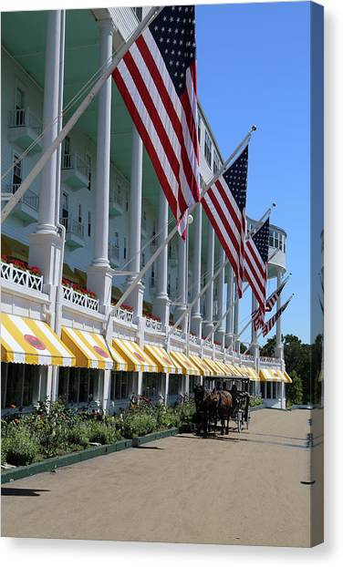 Grand Hotel With Taxi Canvas Print