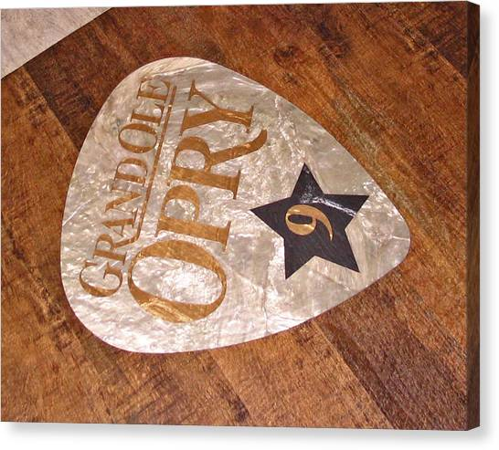 Guitar Picks Canvas Print - Grand Ole Opry Guitar Pick Sign On The Floor by Marian Bell