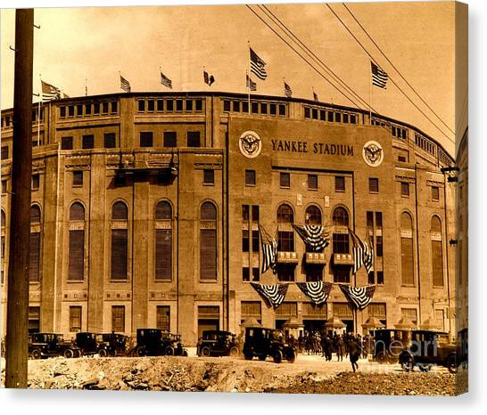 Barry Bonds Canvas Print - Grand Opening Of Old Yankee Stadium April 18 1923 by Unknown