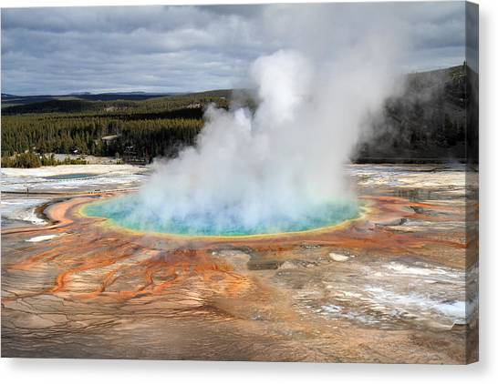 Grand Prismatic Springs In Yellowstone National Park Canvas Print