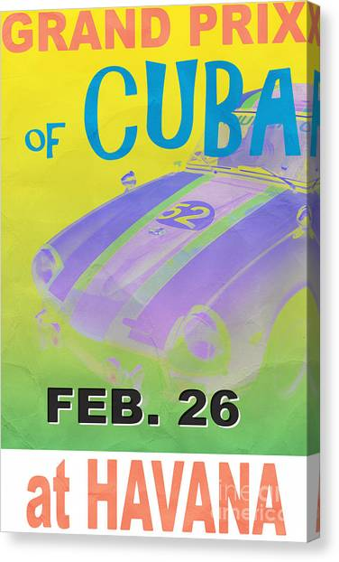 Cuba Canvas Print - Grand Prix Of Cuba Rally Poster by Edward Fielding