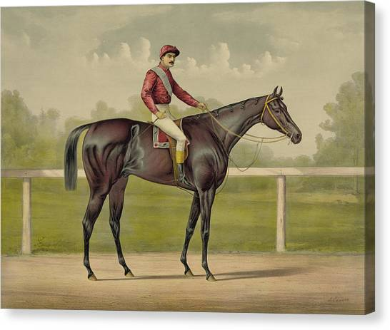 Race Horses Canvas Print - Grand Racer Kingston - Vintage Horse Racing by War Is Hell Store