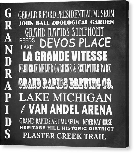 Famous Places Canvas Print - Grand Rapids Famous Landmarks by Patricia Lintner