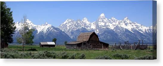 Grand Teton Barn Panarama Canvas Print