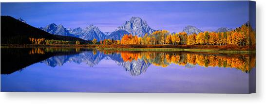 Contour Canvas Print - Grand Tetons And Reflection In Grand by Panoramic Images