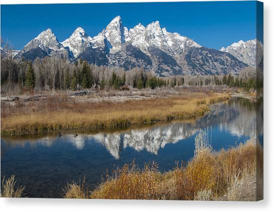 Canvas Print featuring the photograph Grand Tetons by Gary Lengyel