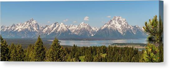 Grand Tetons Over Jackson Lake Panorama Canvas Print