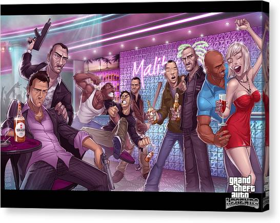Grand Theft Auto Canvas Print - Grand Theft Auto by Alice Kent
