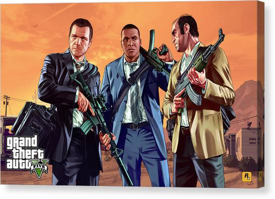 Grand Theft Auto Canvas Print - Grand Theft Auto V by Dorothy Binder